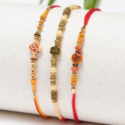 Set of 3 OM, Pearls and Beads Rakhis