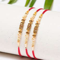 Set of 3 Pearls and Golden Beads Rakhis