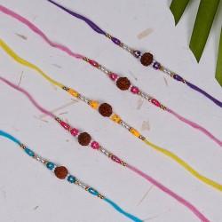 Set of 5 Rudraksh, Pearls and Colorful Beads Rakhis