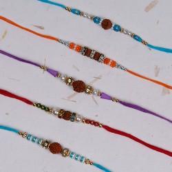 Set of 5 Rudraksh, Pearls, AD and Beads Rakhis