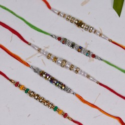 Set of 5 Pearls with Metal and Colorful Beads Rakhis