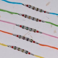 Set of 5 Silver Beads Rakhis
