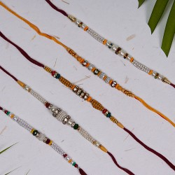 Set of 5 Pearls and Wooden Beads Rakhis