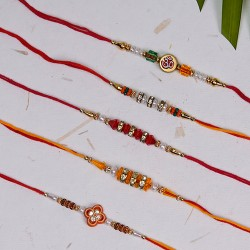 Set of 5 OM with Colorful Beads Rakhis