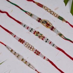 Set of 5 Pearls, Meena Work and AD Rakhis