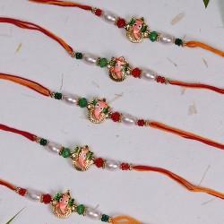 Set of 5 Ganeshji with Pearls and Beads Rakhis
