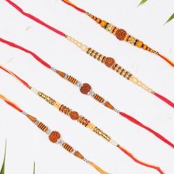 Set of 5 Rudraksh, Pearls and Beads Rakhis