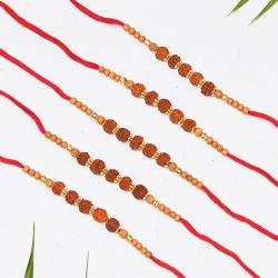 Set of 5 Rudraksh and Beads Rakhis