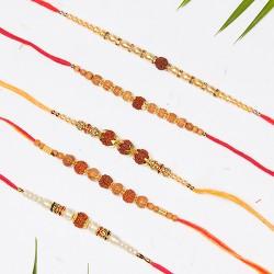 Set of 5 Rudraksh, Beads and Pearls Rakhis