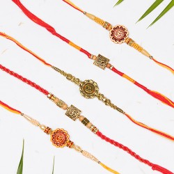 Set of 5 OM Rakhi with Pearls and Beads