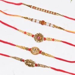 Set of 5 Antique Motifs, Rudraksh and Pearls Rakhis