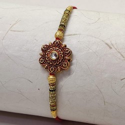 Metallic Floral Motif with AD and Pearls Rakhi