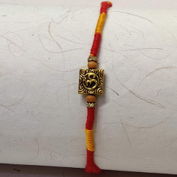 Metallic Square OM with Beads and AD Rakhi