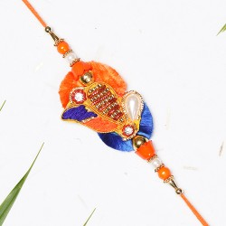 Orange and Blue Zardosi Work Rakhi