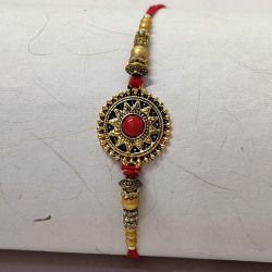 Red Bead Studded Motif with AD and Beads Rakhi