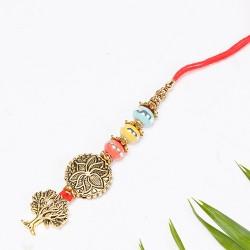 Multicolor Beads Studded Antique Look Lumba Rakhi