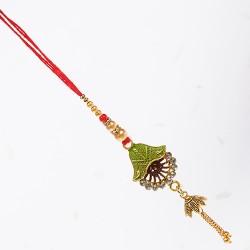 AD Studded Metallic Motif Lumba Rakhi with Pearls and Beads