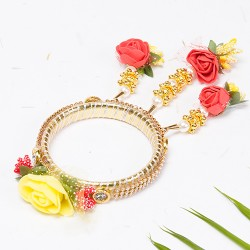 AD with Embellished Yellow Rose Lumba Rakhi with Floral Hangings