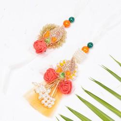 Designer Embellished Pearls and Zardosi Work Bhaiya Bhabhi Rakhi Set