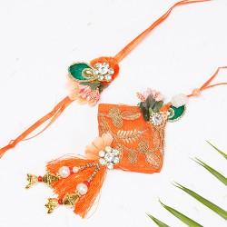 Orange and Rama Green Zardosi Work Studded Bhaiya Bhabhi Rakhi Set