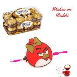 16 Pcs Ferrero Rocher Box with Angry Birds Kids Rakhi