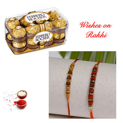 16 Pcs Ferrero Rocher Box with Set of 2 Handcrafted Rakhis