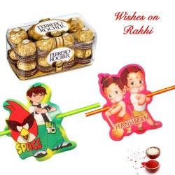 16 Pcs Ferrero Rocher with Set of 2 Joyful Kids Rakhis