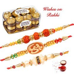 16 Pcs Ferrero Rocher with Set of 3 Rudraksh OM and Pearls Rakhis