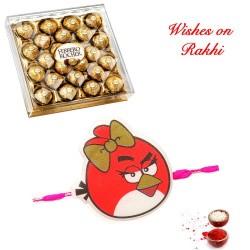 24 Pcs Ferrero Rocher Box with Angry Birds Kids Rakhi