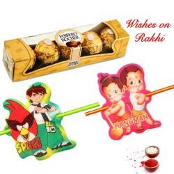 4 Pcs Ferrero Rocher Box with Set of 2 Lovely Kids Rakhis