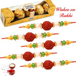 4 Pcs Ferrero Rocher with 5 Dazzling AD Pearls and Beads Rakhi