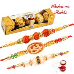 4 Pcs Ferrero Rocher with Set of 3 Rudraksh OM and Pearls Rakhis