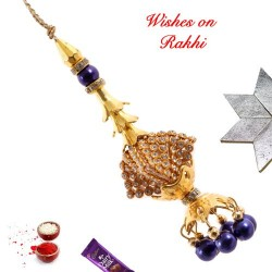 AD and Beads Studded Lumba Rakhi
