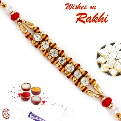 AD and Brown Beads Studded Dual String Rakhi