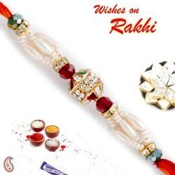 AD and Maroon Blue Crystal Beads Studded Pearl Rakhi