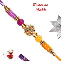 AD and Multicolor Beads Studded Rakhi