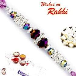 AD and Purple Crystal Beads Embellished Fancy Rakhi