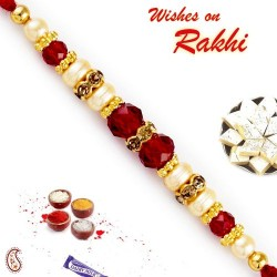 AD and Red Crystal Beads Pearl Rakhi