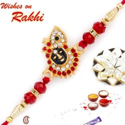 AD and Red Crystal Beads Studded Lord Krishna Motif Rakhi