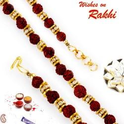 AD and Rudraksh Embellished Bracelet Rakhi