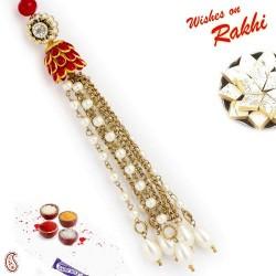 AD and White Beads Embellished Lumba Rakhi