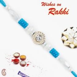 AD and White Blue Beads Studded Fancy Rakhi
