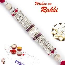AD Cluster and Crystal Stone Embellished Rakhi