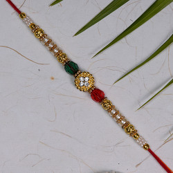AD Crystals and Beads Studded Rakhi