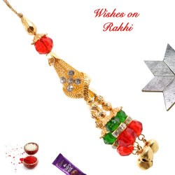AD Crystals and Ghunghroo Studded Lumba Rakhi