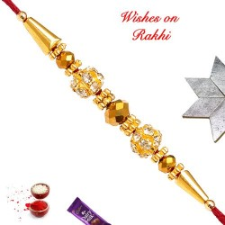 AD Studded Balls with Beads Rakhi