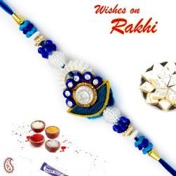 AD Studded Beautiful Blue Base Zardsoi Rakhi