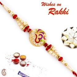AD Studded Colorful OM Motif Rakhi