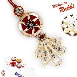 Ad Studded Floral Motif Lumba Rakhi