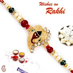 Ad Studded Ganesha Motif Rakhi